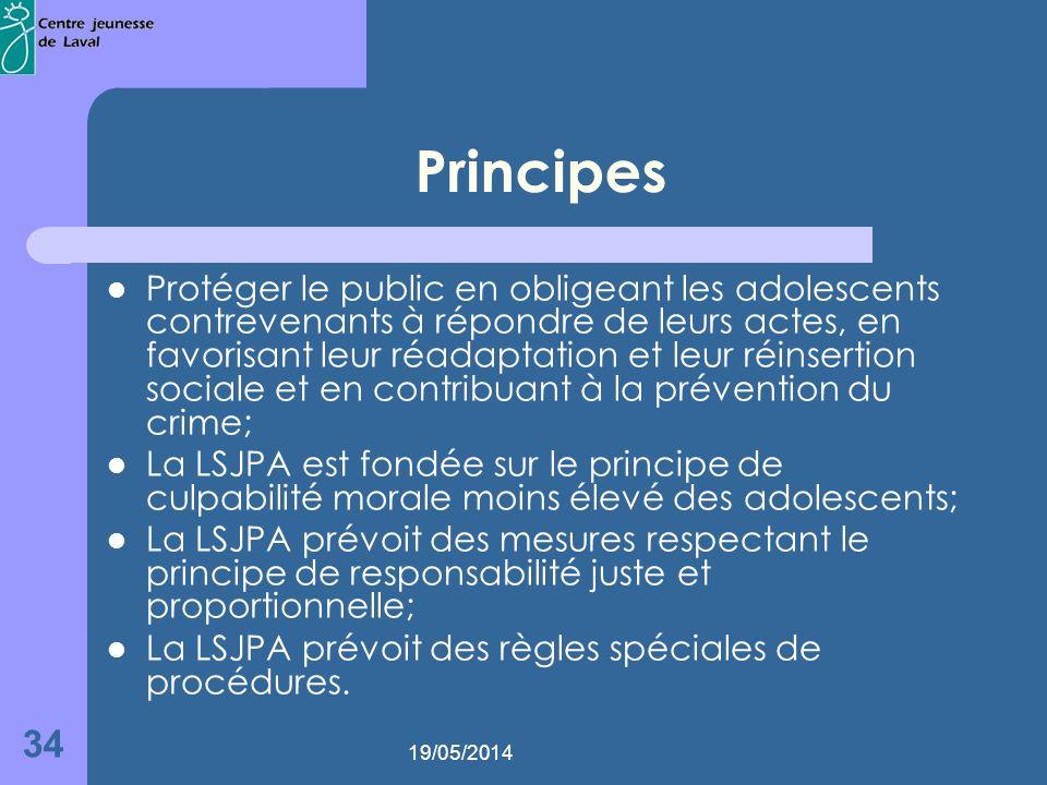 19/05/2014 34 Principes Protéger le public en obligeant les adolescents contrevenants à répondre de leurs actes, en favorisant leur réadaptation et leur réinsertion sociale et en contribuant à la prévention du crime; La LSJPA est fondée sur le principe de culpabilité morale moins élevé des adolescents; La LSJPA prévoit des mesures respectant le principe de responsabilité juste et proportionnelle; La LSJPA prévoit des règles spéciales de procédures.