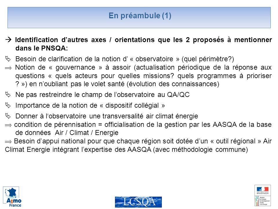 En préambule (1) Identification dautres axes / orientations que les 2 proposés à mentionner dans le PNSQA: Besoin de clarification de la notion d « observatoire » (quel périmètre ) Notion de « gouvernance » à assoir (actualisation périodique de la réponse aux questions « quels acteurs pour quelles missions.