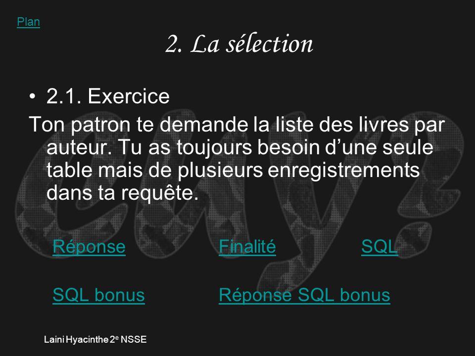 Laini Hyacinthe 2 e NSSE 1.2.