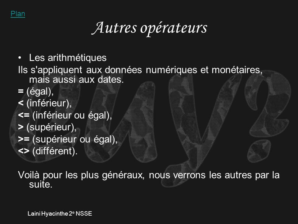 Laini Hyacinthe 2 e NSSE Quelques critères/opérateurs Entre cardinaux : utilisés pour les dates Les guillemets : recherche dune chaîne de caractères exacts.