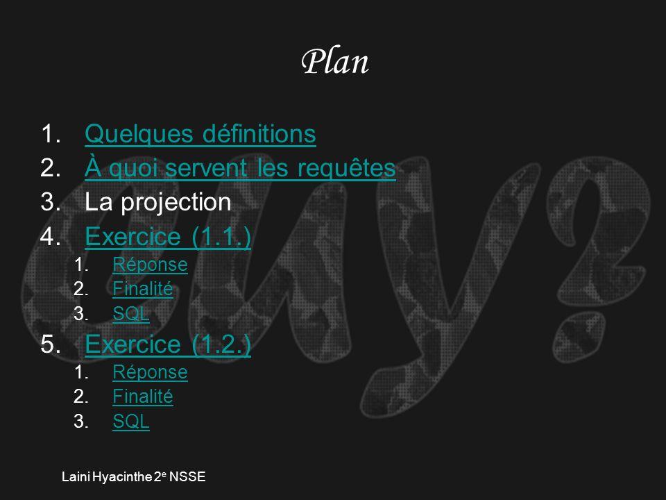 Laini Hyacinthe 2 e NSSE Plan 1.Quelques définitionsQuelques définitions 2.À quoi servent les requêtesÀ quoi servent les requêtes 3.La projection 4.Exercice (1.1.)Exercice (1.1.) 1.RéponseRéponse 2.FinalitéFinalité 3.SQLSQL 5.Exercice (1.2.)Exercice (1.2.) 1.RéponseRéponse 2.FinalitéFinalité 3.SQLSQL