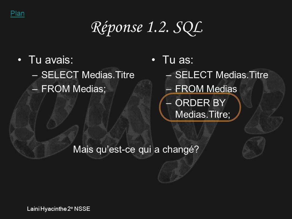 Laini Hyacinthe 2 e NSSE Réponse 1.2. finalité SQL Plan
