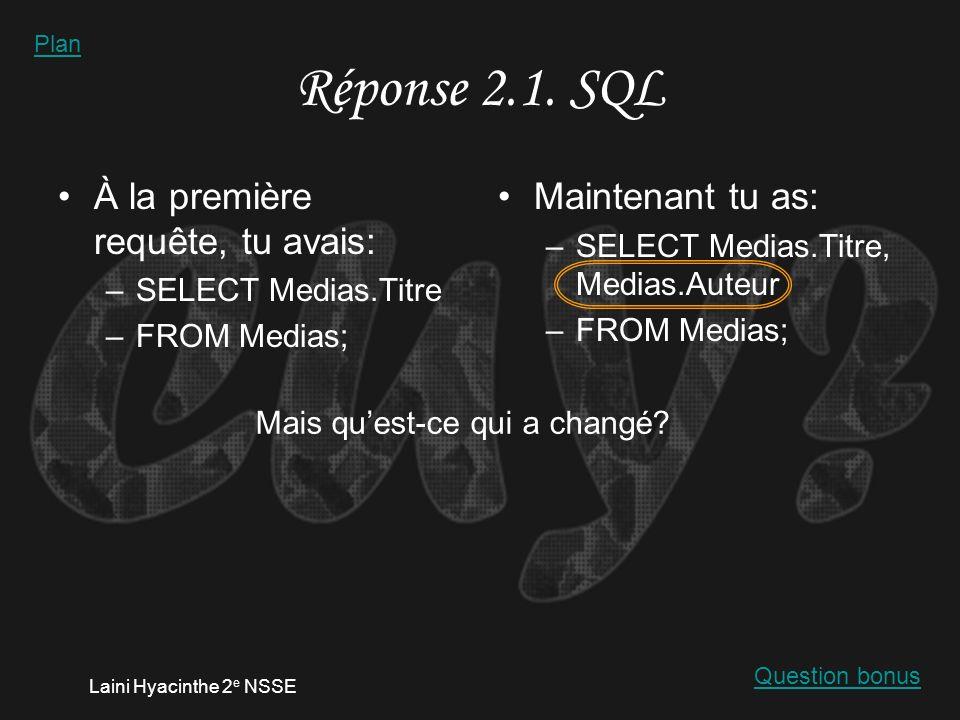 Laini Hyacinthe 2 e NSSE Réponse 2.1. finalité SQL Plan
