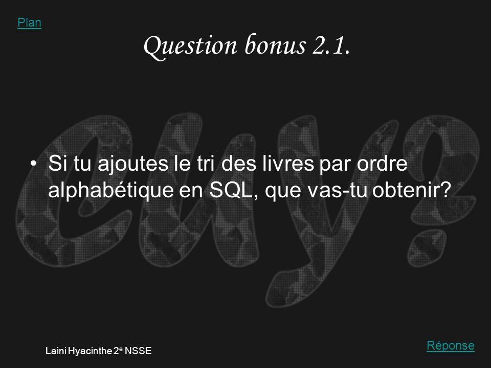 Laini Hyacinthe 2 e NSSE Réponse 2.1.