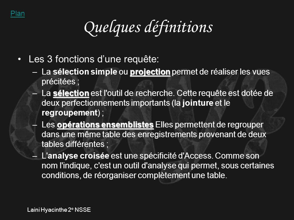 Laini Hyacinthe 2 e NSSE Quelques définitions Les 3 fonctions dune requête: projection –La sélection simple ou projection permet de réaliser les vues précitées ; sélection –La sélection est l outil de recherche.
