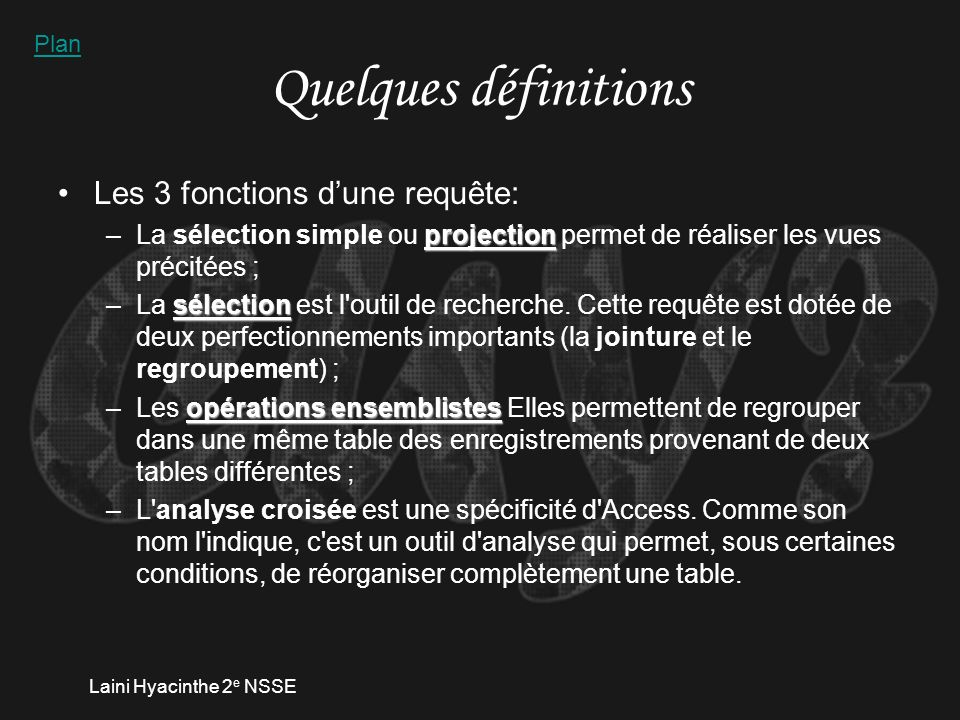 Laini Hyacinthe 2 e NSSE Réponse exercice 4.1.1.
