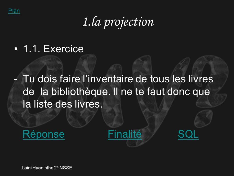 Laini Hyacinthe 2 e NSSE 1.la projection 1.1.