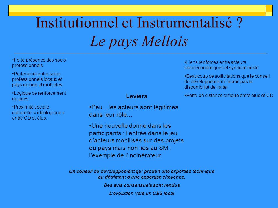 Institutionnel et Instrumentalisé .