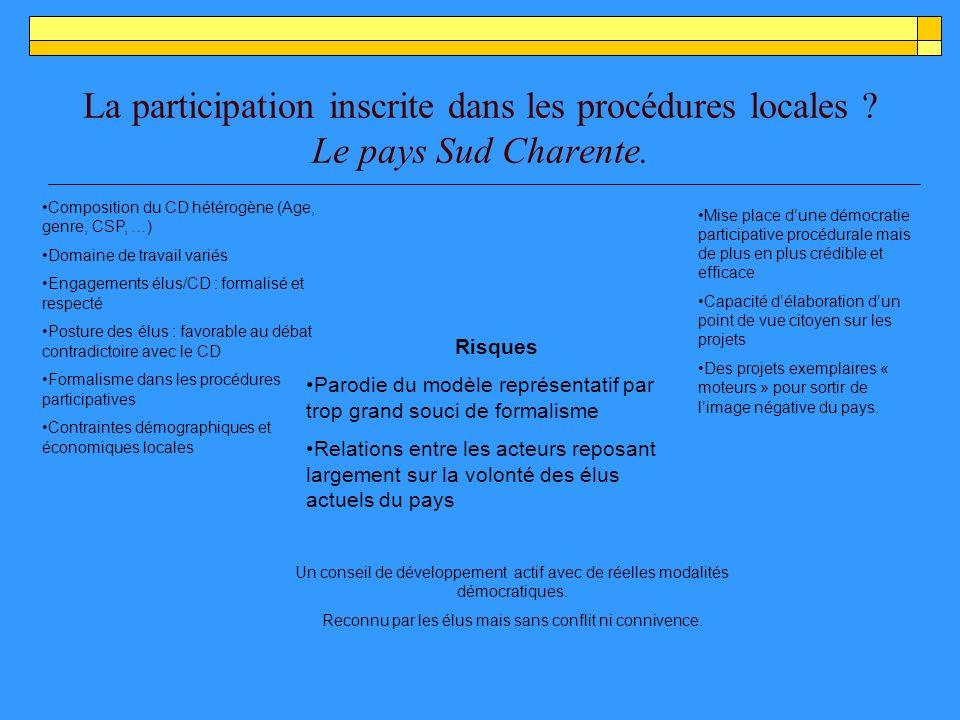La participation inscrite dans les procédures locales .