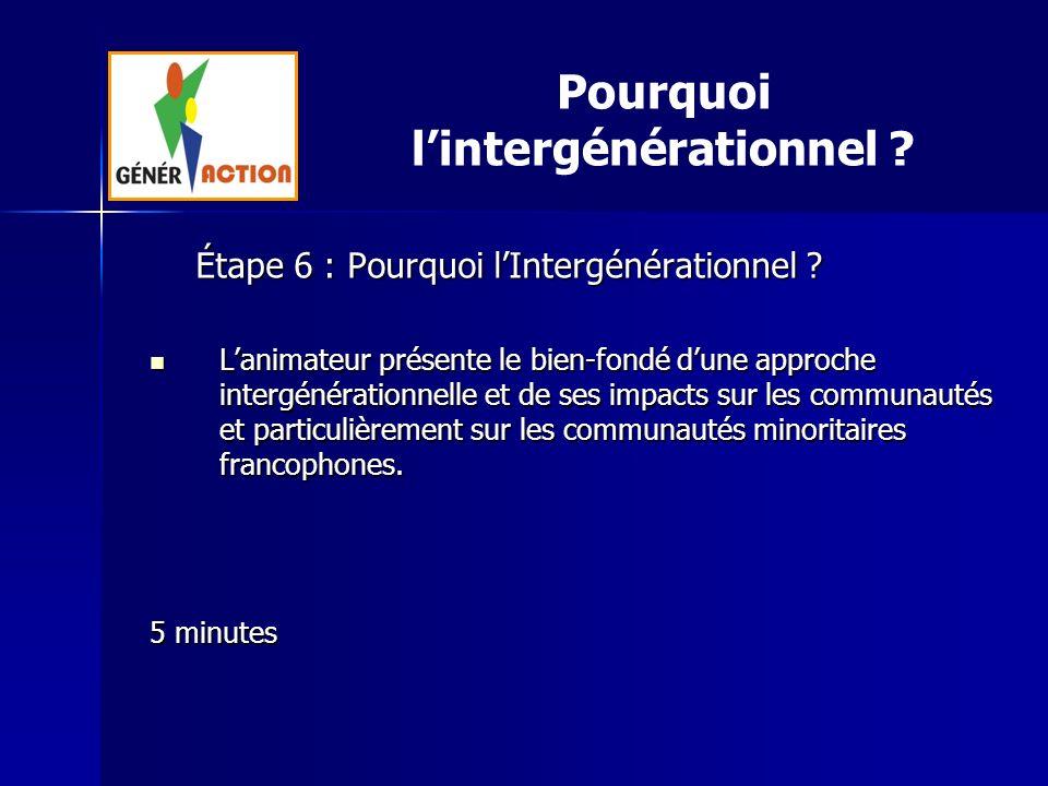 Étape 6 : Pourquoi lIntergénérationnel ? Lanimateur présente le bien-fondé dune approche intergénérationnelle et de ses impacts sur les communautés et