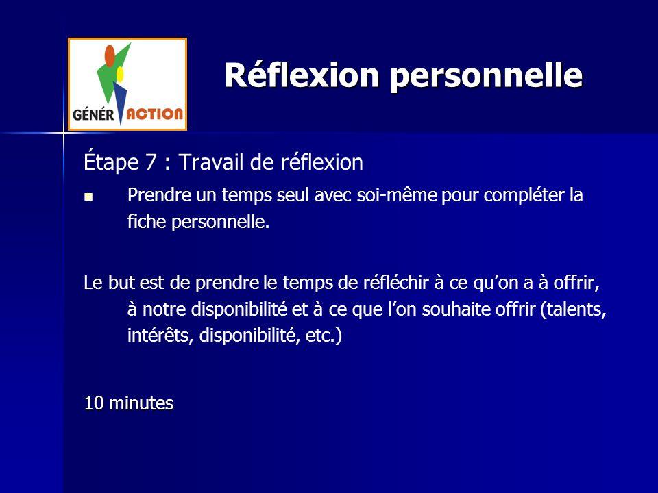 Étape 7 : Travail de réflexion Prendre un temps seul avec soi-même pour compléter la fiche personnelle. Le but est de prendre le temps de réfléchir à