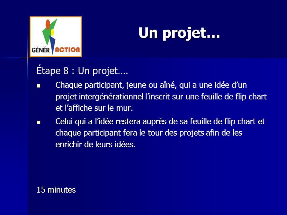 Étape 8 : Un projet…. Chaque participant, jeune ou aîné, qui a une idée dun projet intergénérationnel linscrit sur une feuille de flip chart et laffic