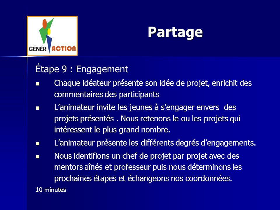 Étape 9 : Engagement Chaque idéateur présente son idée de projet, enrichit des commentaires des participants Lanimateur invite les jeunes à sengager e