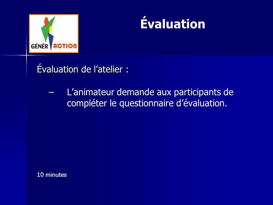 Évaluation de latelier : – –Lanimateur demande aux participants de compléter le questionnaire dévaluation. 10 minutes Évaluation