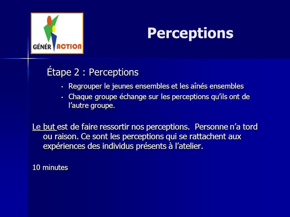 Étape 2 : Perceptions Regrouper le jeunes ensembles et les aînés ensembles Regrouper le jeunes ensembles et les aînés ensembles Chaque groupe échange