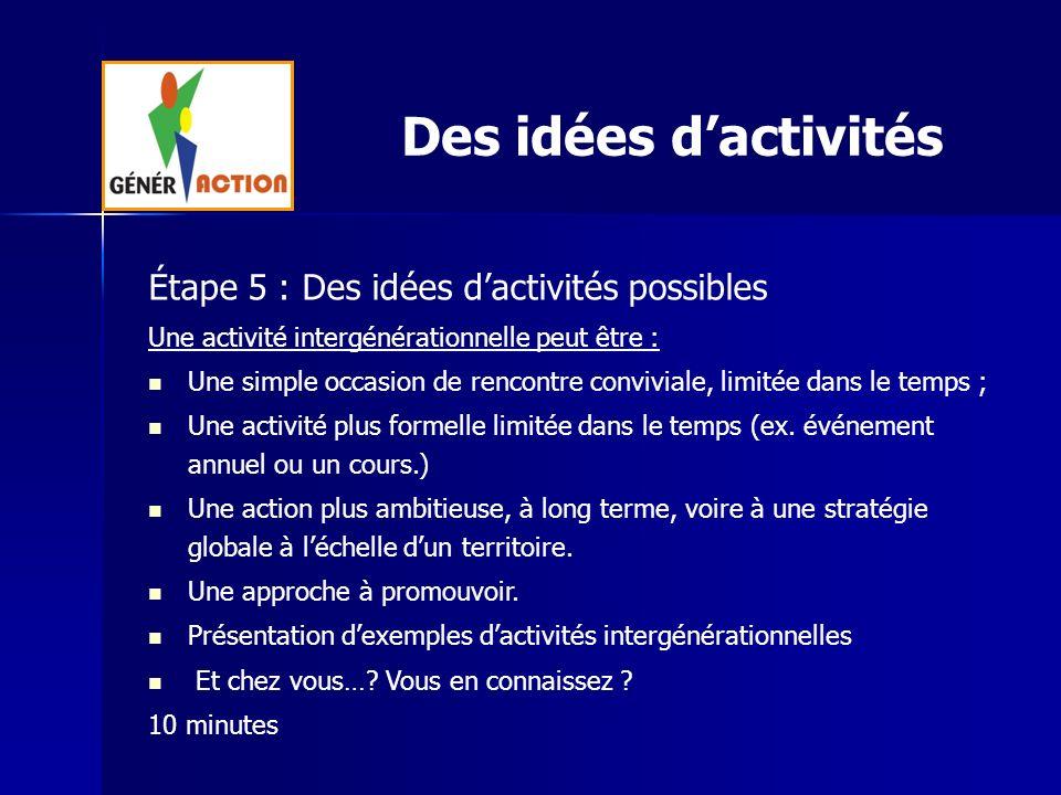 Des idées dactivités Étape 5 : Des idées dactivités possibles Une activité intergénérationnelle peut être : Une simple occasion de rencontre convivial