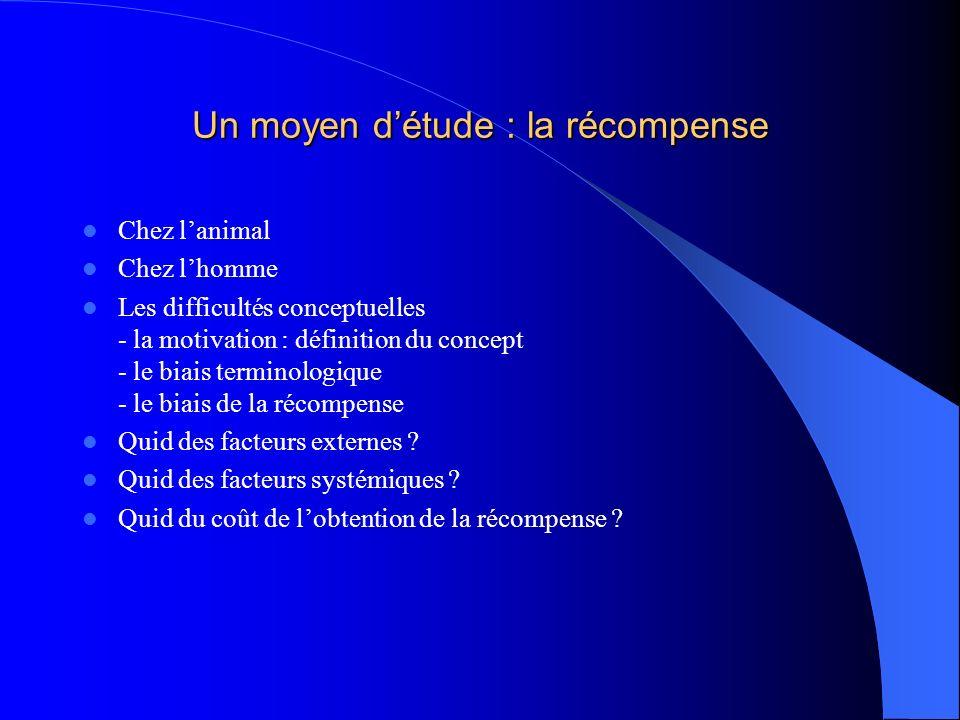 Un moyen détude : la récompense Chez lanimal Chez lhomme Les difficultés conceptuelles - la motivation : définition du concept - le biais terminologiq