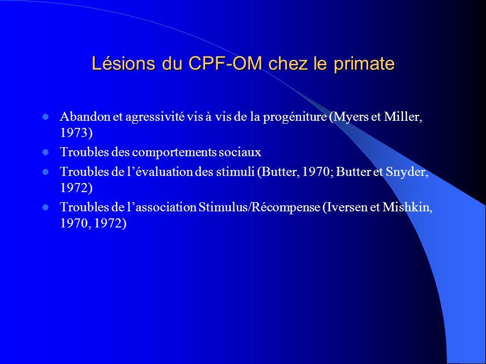 Lésions du CPF-OM chez le primate Abandon et agressivité vis à vis de la progéniture (Myers et Miller, 1973) Troubles des comportements sociaux Troubl