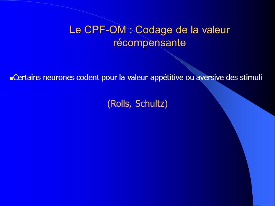 Le CPF-OM : Codage de la valeur récompensante Certains neurones codent pour la valeur appétitive ou aversive des stimuli (Rolls, Schultz)