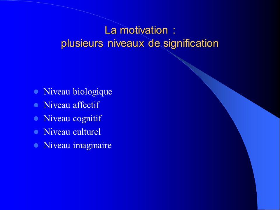 La motivation : plusieurs niveaux de signification Niveau biologique Niveau affectif Niveau cognitif Niveau culturel Niveau imaginaire