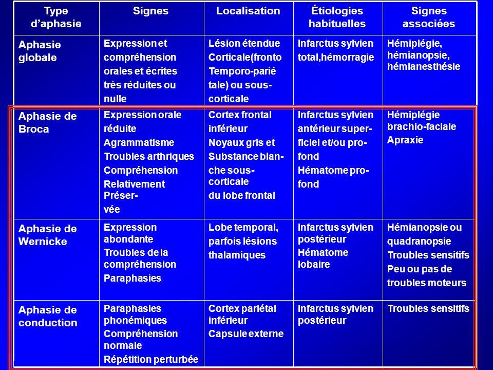 Type daphasie SignesLocalisationÉtiologies habituelles Signes associées Aphasie globale Expression et compréhension orales et écrites très réduites ou