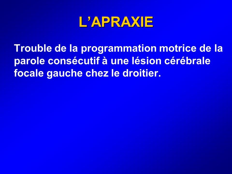LAPRAXIE Trouble de la programmation motrice de la parole consécutif à une lésion cérébrale focale gauche chez le droitier.