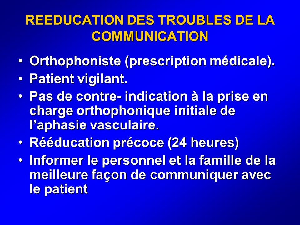 REEDUCATION DES TROUBLES DE LA COMMUNICATION Orthophoniste (prescription médicale).Orthophoniste (prescription médicale). Patient vigilant.Patient vig