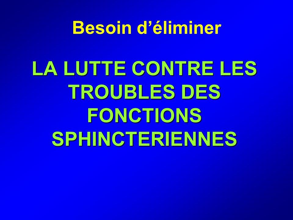 LA LUTTE CONTRE LES TROUBLES DES FONCTIONS SPHINCTERIENNES Besoin déliminer