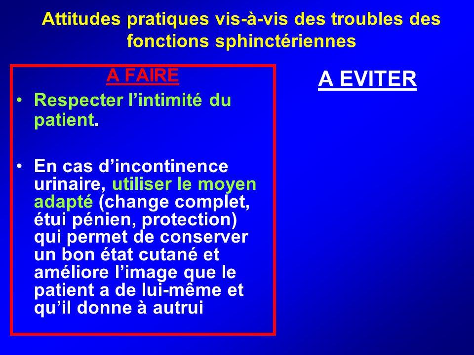 Attitudes pratiques vis-à-vis des troubles des fonctions sphinctériennes A FAIRE.Respecter lintimité du patient. En cas dincontinence urinaire, utilis