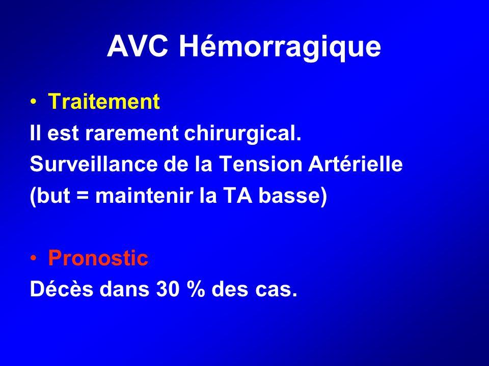 AVC Hémorragique Traitement Il est rarement chirurgical. Surveillance de la Tension Artérielle (but = maintenir la TA basse) Pronostic Décès dans 30 %