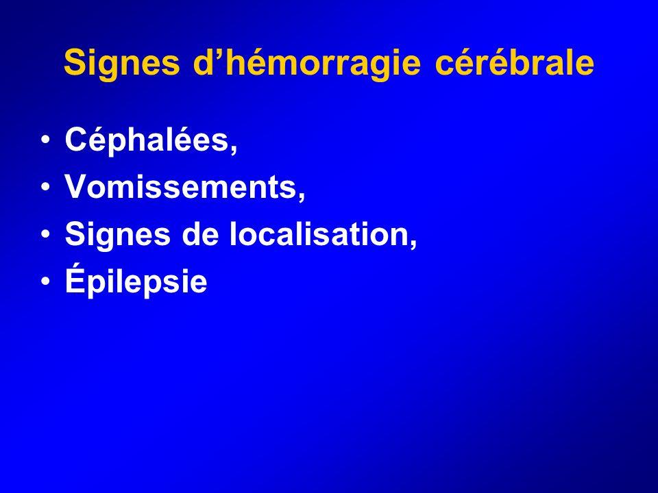 Signes dhémorragie cérébrale Céphalées, Vomissements, Signes de localisation, Épilepsie