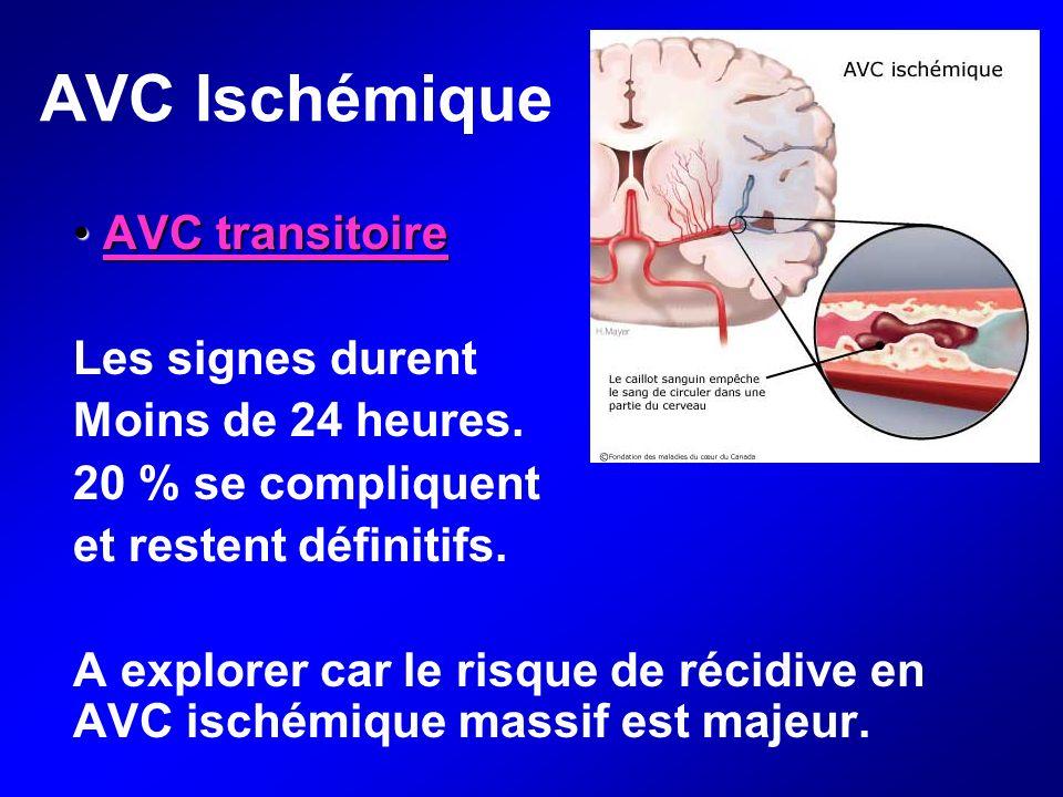 AVC Ischémique AVC transitoire AVC transitoire Les signes durent Moins de 24 heures. 20 % se compliquent et restent définitifs. A explorer car le risq