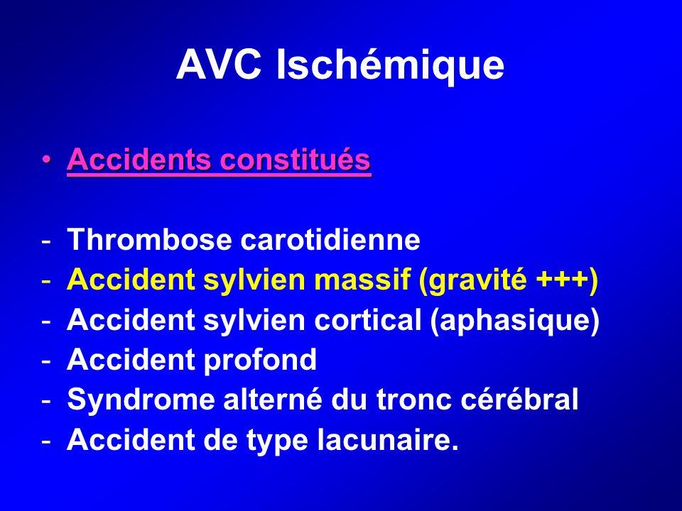 AVC Ischémique Accidents constituésAccidents constitués -Thrombose carotidienne -Accident sylvien massif (gravité +++) -Accident sylvien cortical (aph
