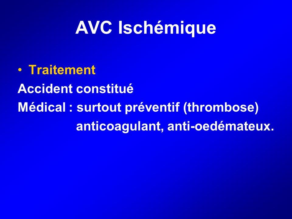 AVC Ischémique Traitement Accident constitué Médical : surtout préventif (thrombose) anticoagulant, anti-oedémateux.