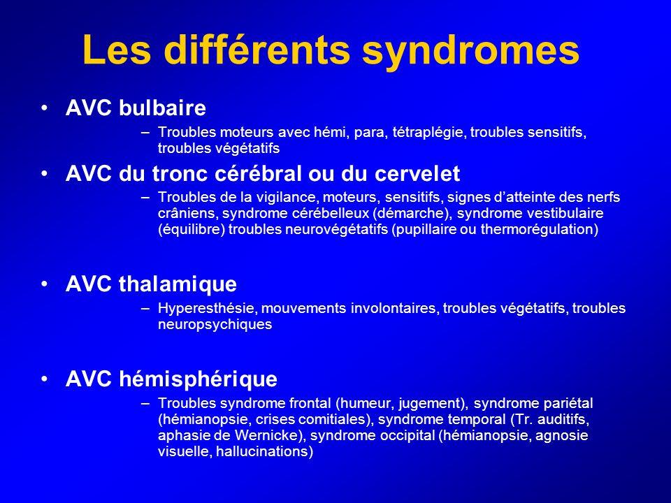 Les différents syndromes AVC bulbaire –Troubles moteurs avec hémi, para, tétraplégie, troubles sensitifs, troubles végétatifs AVC du tronc cérébral ou