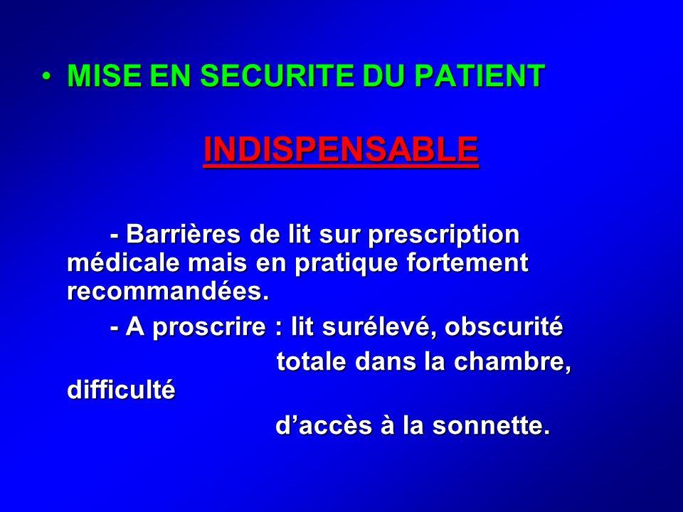 MISE EN SECURITE DU PATIENTMISE EN SECURITE DU PATIENTINDISPENSABLE - Barrières de lit sur prescription médicale mais en pratique fortement recommandé