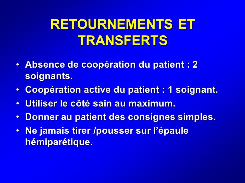 RETOURNEMENTS ET TRANSFERTS Absence de coopération du patient : 2 soignants.Absence de coopération du patient : 2 soignants. Coopération active du pat