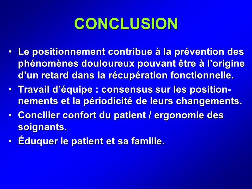 CONCLUSION Le positionnement contribue à la prévention des phénomènes douloureux pouvant être à lorigine dun retard dans la récupération fonctionnelle