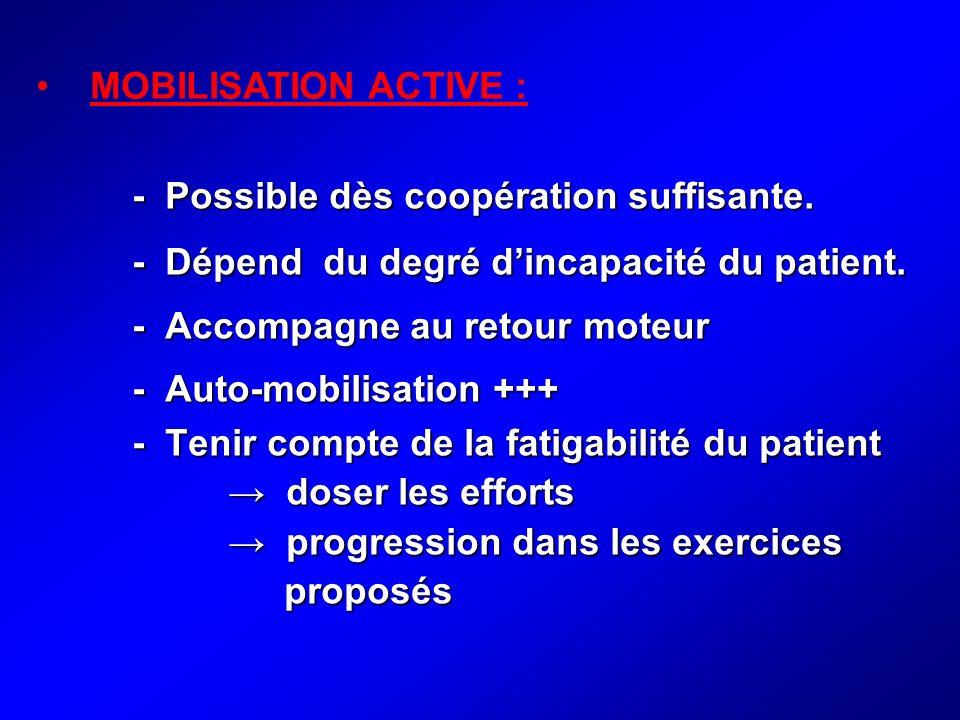 - Possible dès coopération suffisante. - Dépend du degré dincapacité du patient. - Accompagne au retour moteur - Auto-mobilisation +++ - Tenir compte