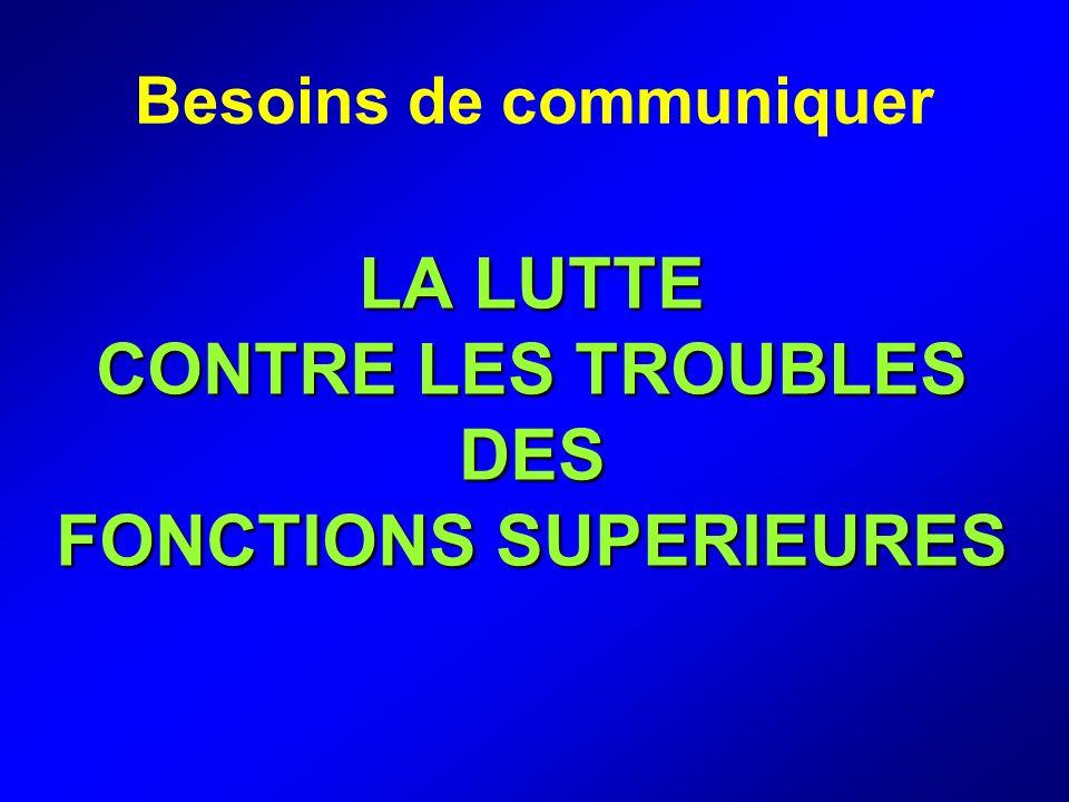LA LUTTE CONTRE LES TROUBLES DES FONCTIONS SUPERIEURES Besoins de communiquer