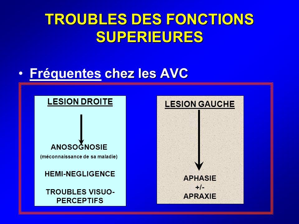 TROUBLES DES FONCTIONS SUPERIEURES chez les AVCFréquentes chez les AVC LESION DROITE ANOSOGNOSIE (méconnaissance de sa maladie) HEMI-NEGLIGENCE TROUBL