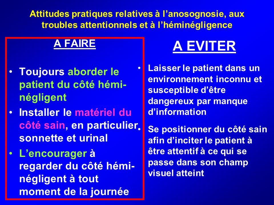 Attitudes pratiques relatives à lanosognosie, aux troubles attentionnels et à lhéminégligence A FAIRE Toujours aborder le patient du côté hémi- néglig