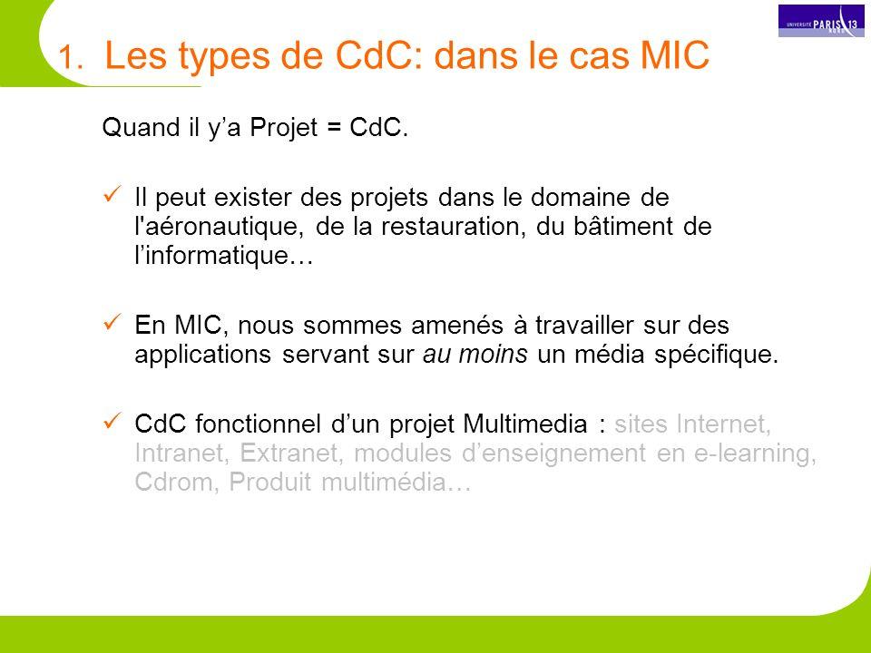 1.Les types de CdC: dans le cas MIC Quand il ya Projet = CdC.