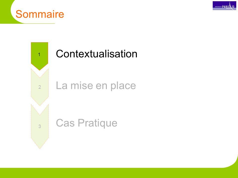 Sommaire 1 2 3 Contextualisation La mise en place Cas Pratique