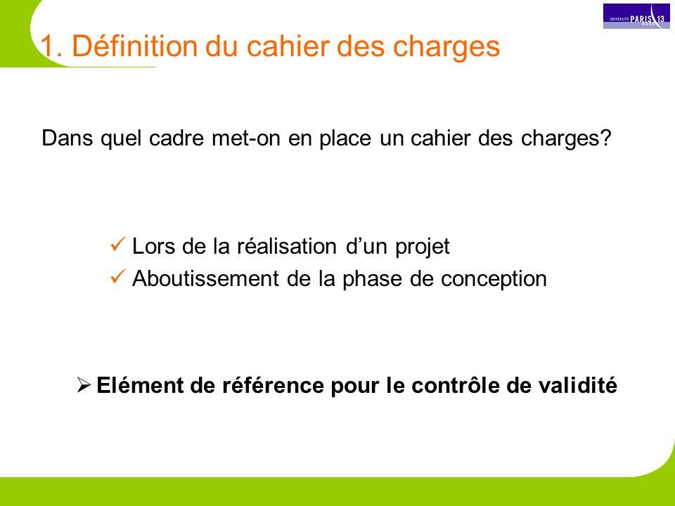 1.Définition du cahier des charges Dans quel cadre met-on en place un cahier des charges.