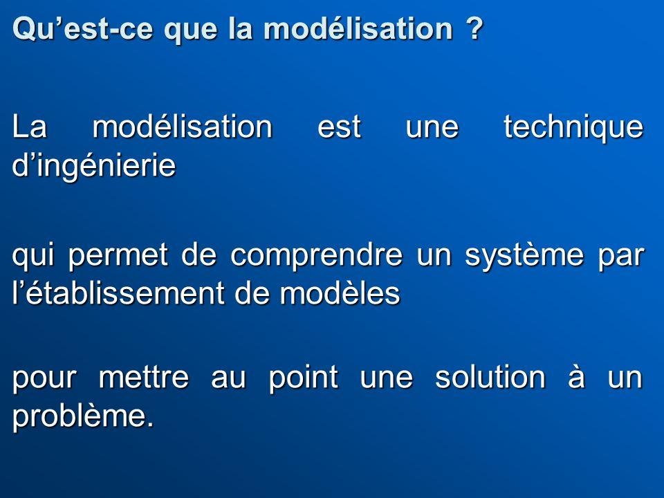 La modélisation est une technique dingénierie qui permet de comprendre un système par létablissement de modèles pour mettre au point une solution à un