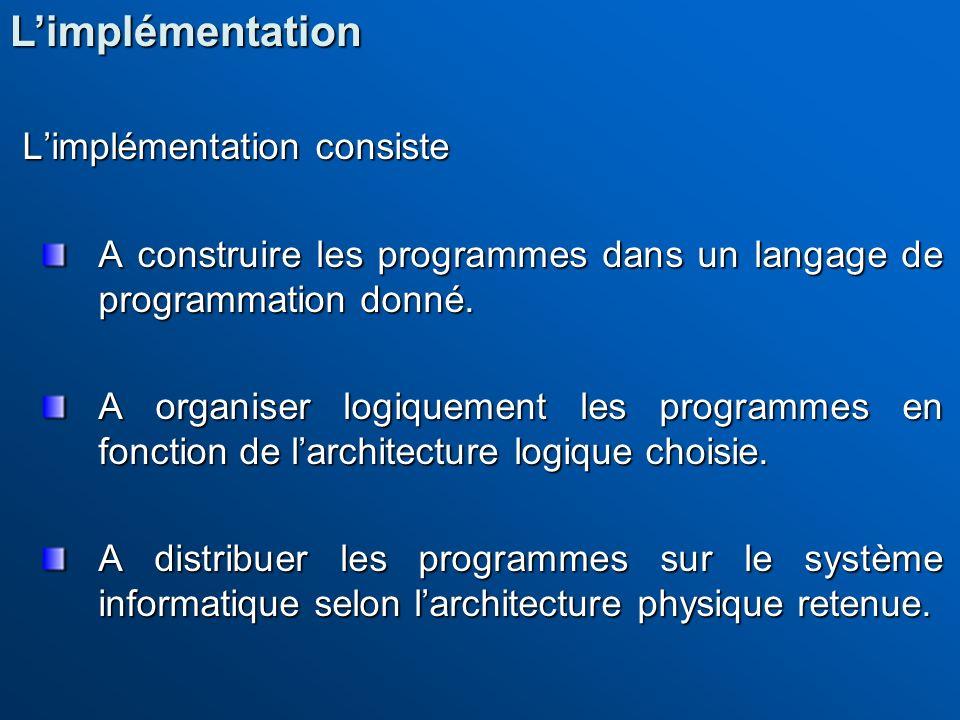 Limplémentation consiste A construire les programmes dans un langage de programmation donné. A organiser logiquement les programmes en fonction de lar