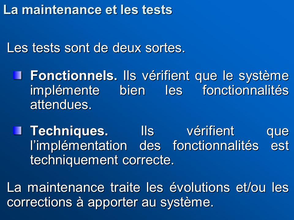Les tests sont de deux sortes. Fonctionnels. Ils vérifient que le système implémente bien les fonctionnalités attendues. Techniques. Ils vérifient que