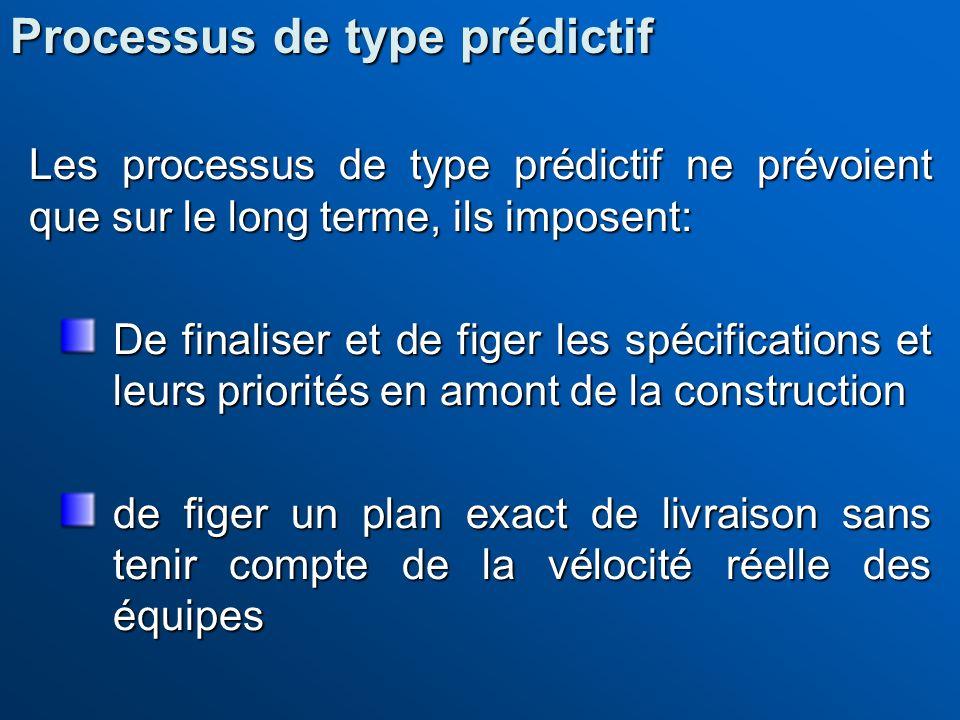 Les processus de type prédictif ne prévoient que sur le long terme, ils imposent: De finaliser et de figer les spécifications et leurs priorités en am