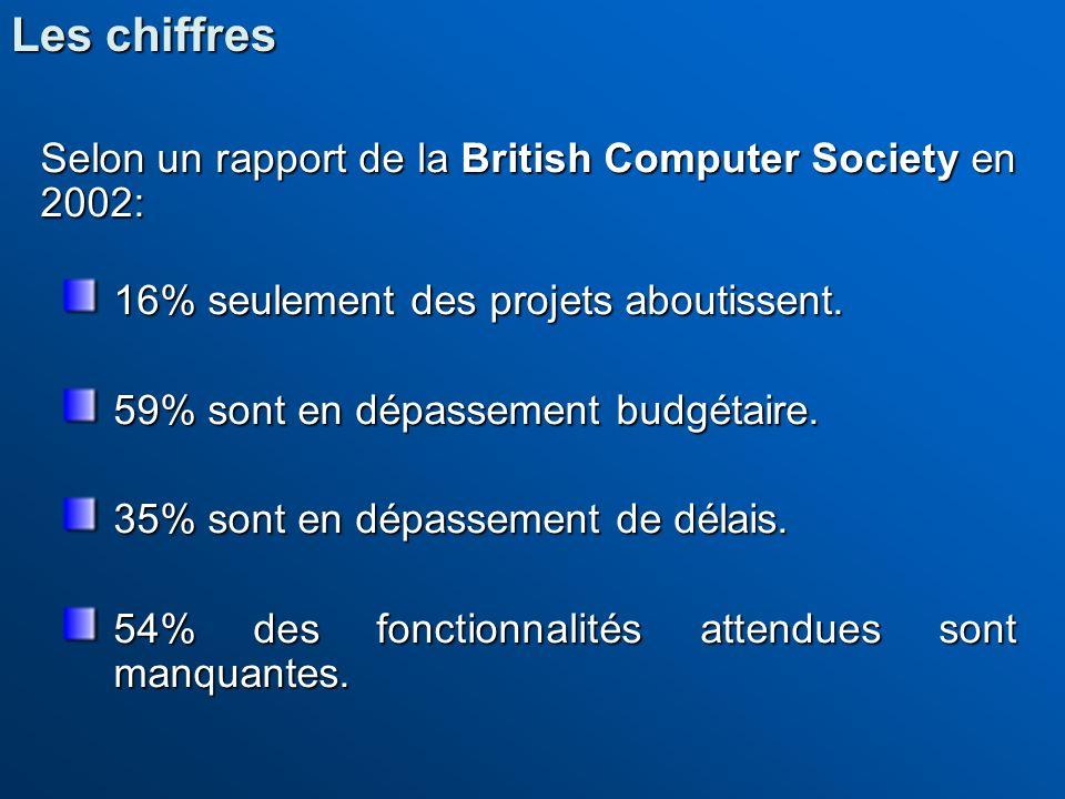 Selon un rapport de la British Computer Society en 2002: 16% seulement des projets aboutissent. 59% sont en dépassement budgétaire. 35% sont en dépass